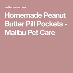 Homemade Peanut Butter Pill Pockets - Malibu Pet Care
