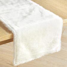 White Faux Fur Table Runner