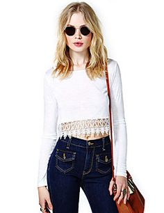 7c5d50b1692ab Ricci Women s Joint Lace Short Long Sleeve Round Neck T Shirt. Sexy Shorts Lace ShortsWhite ShortsWhite Lace BlouseLace Crop TopsShirt ...