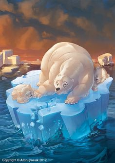 Art by Volkan Yenen - When the ice is all gone what will happen to them?