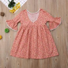 One piece dress Half Bell Sleeves Knee-length Button fasteners in back Easter Outfit For Girls, Cute Baby Girl Outfits, Toddler Girl Dresses, Beautiful Summer Dresses, Casual Summer Dresses, Dress Casual, Boho Floral Dress, One Piece Dress, Dresses With Sleeves