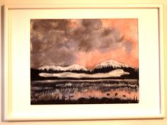 In The Pink Framed Wet Felted Painting by Cathie Palmer, FeltIsle #SunsetFeltPainting #FeltPicture