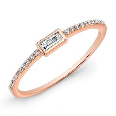 14KT Rose Gold Diamond Baguette Ring