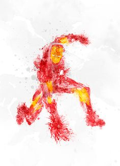 Superheroes Illustrated With Paint Spatters - Ironman