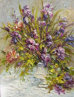 Original Oil Painting MADE to ORDER Palette Knife Colorful Purple Iris Flowers Vase Handmade  Bouquet Textured  Romantic ART by Marchella
