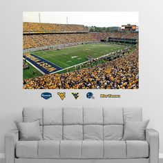Put your passion on display with a giant West Virginia Mountaineers: Milan Puskar Stadium Corner View Mural - Huge Officially Licensed Removable Wall Graphic Fathead wall decal! Wvu Football, Football Rooms, Myrtle Tree, West Virginia University, Man Cave Gifts, Florida State Seminoles, Cool Walls, Wall Murals, Wall Decal