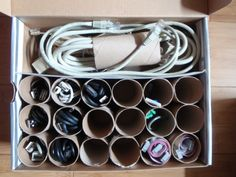 After learning these 38 DIY Toilet Paper Tube Crafts you'll not throw them away into the trash so easily! Bike Tool Storage, Power Tool Storage, Tool Storage Cabinets, Cable Storage, Storage Trolley, Workshop Storage, Storage Units, Storage Hacks, Diy Storage