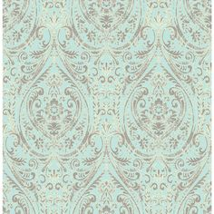 A-Street 8 in. W x 10 in. H Gypsy Turquoise Damask Wallpaper Sample
