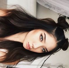 Pinterest @esib123 half up half down hairstyle with space buns