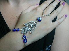evil eye hamsa hand slave bracelet  BLUE evil by gildedingypsy, $28.00