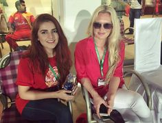 Momina with wasim akram's wife at rawalpindi cricket stadium