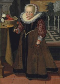 Dutch School, 1599  Portrait of a girl, aged 4, full-length, in a brown dress with red brocaded sleeves and a lace ruff and bonnet, holding cherries in her left hand and a parakeet on her right hand, beside a draped table with a basket of cherries and roses, a park landscape beyond dated '1599' (upper left) and inscribed 'out 4 iaa[?]r' (lower right)  oil on panel, unframed  40 5/8 x 29 in. (103.2 x 73.6 cm.)