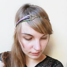 headband collier - triangle aztèque et ses triple rubans : lila, violet et kaki : Accessoires coiffure par les-mangeurs-de-coeur