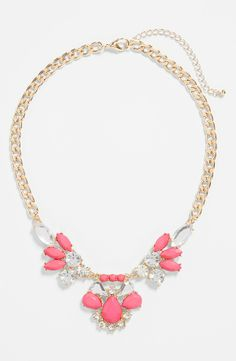Love this sparkly pink and clear crystal necklace.