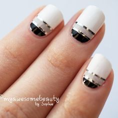 uñas blancas con negro - Buscar con Google