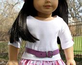 American Girl Doll Clothes - Knit Top, Ruffled Skirt, Handknit Hat, Leather Belt, 18 inch doll clothes,  AG clothes