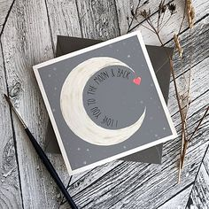 I love you to the moon back Bee Design, Gray Background, Product Photography, I Love You, Envelope, Greeting Cards, Moon, Messages, Writing