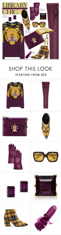 """""""Work Hard, Play Hard: Finals Season"""" by spenderellastyle ❤ liked on Polyvore featuring Kenzo, Versace, Dolce&Gabbana, Jeffrey Campbell, Bloomingdale's, Gucci, Effy Jewelry, Kenneth Jay Lane, Sigma and Estée Lauder"""