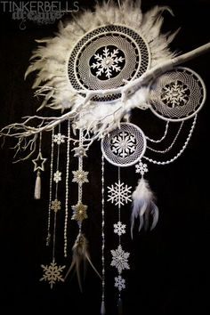 dreamcatcher christmas xmas winter white large noble snowflake fairytale antique silver