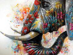 Elephant on Holi Festival – Buntes Tierbild – Martin Klein – Elefantenbild Holi Painting, Oil Painting On Canvas, Painting Prints, Watercolor Paintings, Watercolour, Buy Paintings, Animal Paintings, Elephant Wallpaper, Elephant Art
