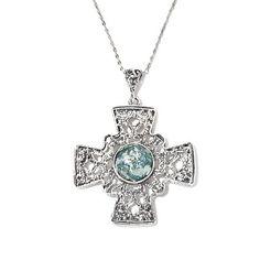 Noa Zuman Roman Glass Sterling Silver Cross Pendant