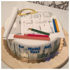 This cake was made for an architect!… The project plan is edible print on fondant. Pencils are manually modeled from fondant. Unique Birthday Cakes, Beautiful Birthday Cakes, Art Birthday, Unique Cakes, Birthday Ideas, Engineering Cake, Architecture Cake, Building Cake, Decoration Patisserie