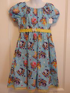 My Little Pony Girls Peasant-Style Dress - Ready To Ship Size 6 Girls Dress, Pinkie Pie, Fluttershy, Apple Jack, Rainbow Dash, Rarity by DesignsByGranGran on Etsy