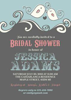 Cute love birds bridal shower invitation #wedding #diy #design