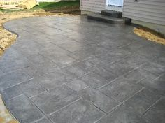 Slate Patio, Concrete Patio, Stamped Concrete, Outdoor Entertaining, Tile Floor, Backyard, Garden Ideas, House, Design