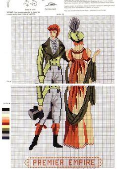 0 point de croix mode femme homme époque premier 1er empire - cross stitch woman and man fashion era first empire