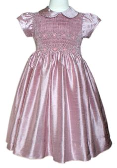 Girls silk smocked rose dress. Hand embroidered by CarouselWear, $56.99