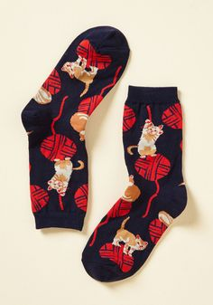 Knit One, Purr Two Socks. Stitch together a look of cuteness and quirk starring these cat-printed socks! #blue #modcloth