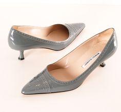 Manolo Blahnik Grey Patent Spectator Heels