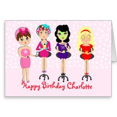 A cute happy birthday greetings card, fabulous for for all those young ladies celebrating a birthday or special occasion with a pamper or spa themed party. These illustrated ladies are certainly making the most of being pampered. Don't forget to customize it with a personal name and feel free to change the message inside to one of your choice, at no extra cost.