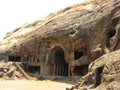 """The Bhaja Caves of Maharashtra, India.  Bhaja contains about 29 rock-cut caves, which date back to the 2nd century BCE, and is described by the Archaeological Survey of India to be """"one of the important Buddhist centres of Hinayana faith in Maharashtra."""""""