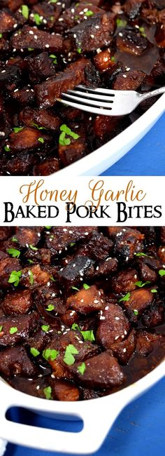 Honey Garlic Baked Pork Bites   A delicious and healthy new spin on ribs. Tasty honey and garlic flavors mix perfectly in this dish!