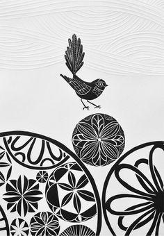 Annie Smits Sandano 'Piwakawaka Wave' Limited Edition Woodcut print with embossing