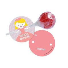 Your little princess can hand out lollipops for Valentine's Day with these custom classroom valentines that become lollipop holders.