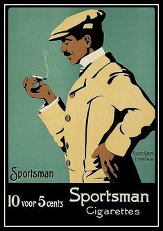 Sportsman Dutch Cigarettes 1900 Advert Print by BloominLuvly