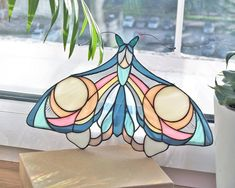 """littlealienproducts: """" Stained Glass Bubble Gum Moth Suncatcher by elenazaycman """" Stained Glass Panels, Stained Glass Art, Stained Glass Designs, Tiffany, Glass Butterfly, My New Room, Suncatchers, Etsy, Pure Products"""