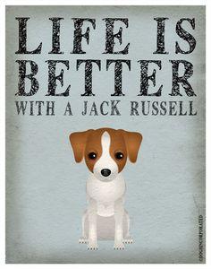 La vie est mieux avec un Jack Russell Art par DogsIncorporated