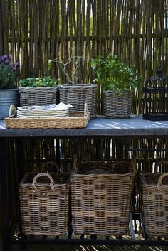 baskets (I get them from Goodwill, so I don't feel bad leaving them outside)