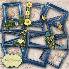 Mix & Match Collection Vol3 - 12 Digital Frames - Digital Scrapbooking Elements - CLUSTER Frames - INSTANT DOWNLOAD
