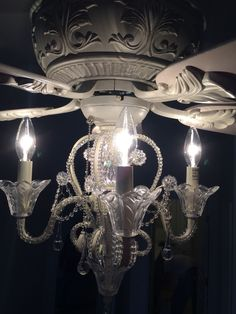 The Attractive Chandelier Fan Decoration for any Rooms with Any Styles : Lamps Plus Ceiling Fan Chandelier Light Kit Ceiling Fan Chandelier, White Ceiling Fan, Ceiling Fans, Chandeliers, Mini Chandelier, Vintage Modern, Home Design, Crystal Candelabra, Ceiling Fan Makeover