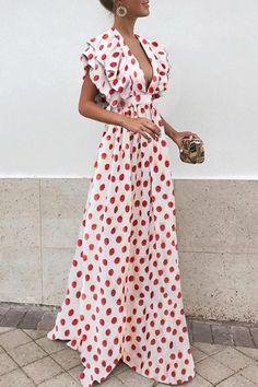 Sexy V Neck Short Sleeves Wave Point Maxi Dress Sexy V Neck Short Sleeves Wave Point Maxi Dress >>> Kleider >>> Maxi Dress With Sleeves, The Dress, Short Sleeve Dresses, Short Sleeves, Long Sleeve, Casual Dresses, Fashion Dresses, Maxi Dresses, Look Fashion