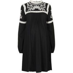 TOPSHOP MATERNITY Embroidered Dress ($68) ❤ liked on Polyvore featuring maternity, dresses and black