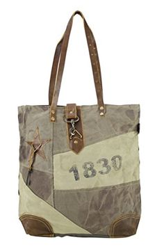 80b2bbe4caea2 Damen Vintage Tasche Shopper Schultertasche Handtasche aus Canvas Segeltuch  mit Leder 1693 42x42x10 cm