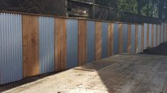 Privacy Fence Landscaping, Privacy Fences, Diy Fence, Backyard Landscaping, Backyard Ideas, Corrugated Metal Fence, Metal Fence Panels, Painted Wood Fence, Wooden Fence