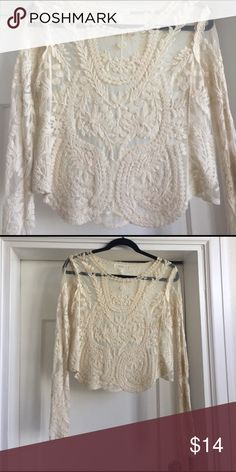 Sheer lace shirt Sheer lace and mesh long sleeve shirt Forever 21 Tops Blouses