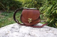 Chocolate brown Oval leather messenger bag small by GalenLeather, $39.00